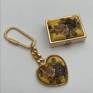 Italian fine porcelain flower 🌸 gift set keychain